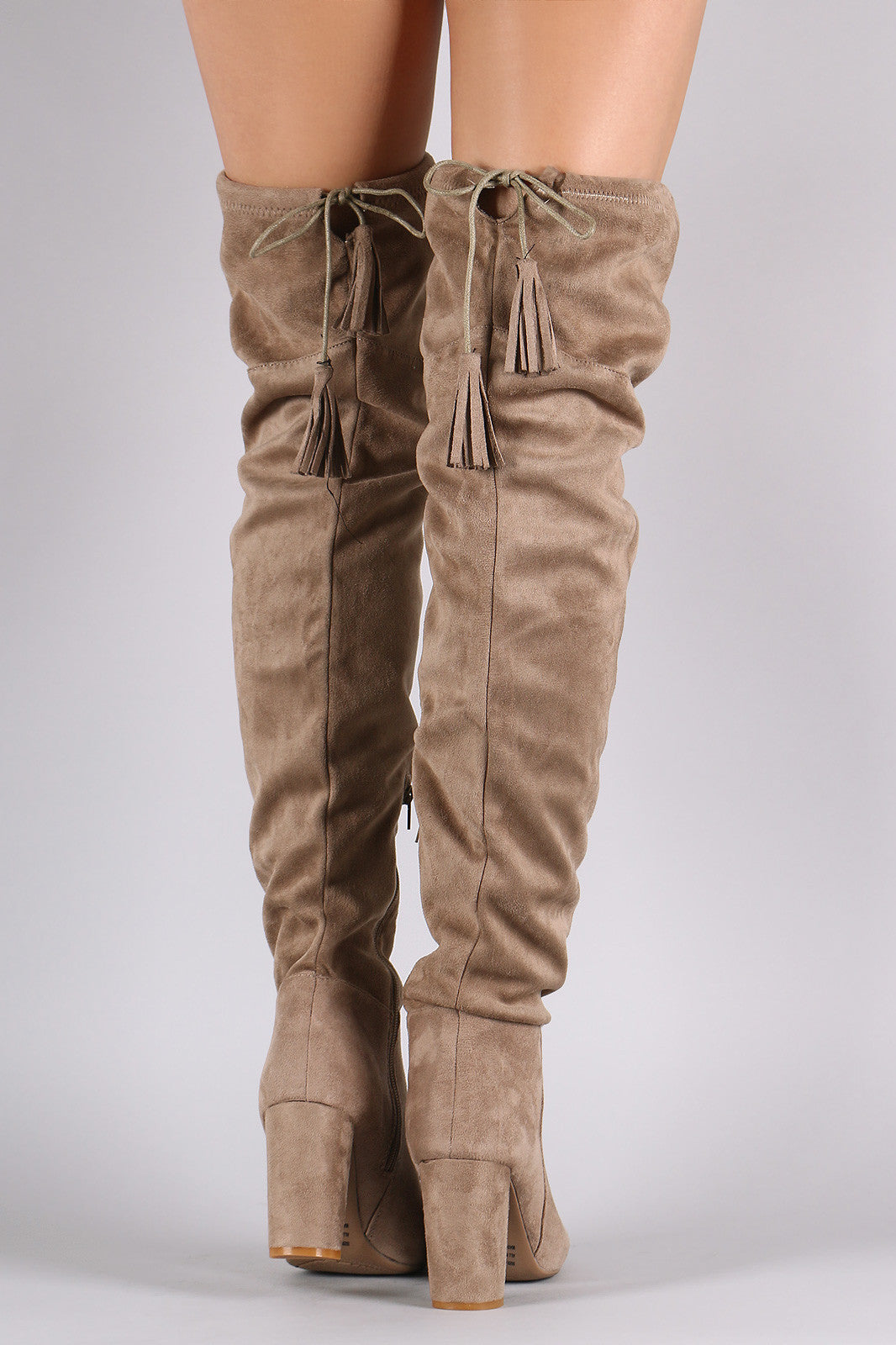 Suede Tassel Drawstring Chunky Heeled Over-The-Knee Boots - Thick 'N' Curvy Shop - 3
