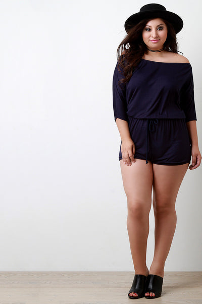Casual Off The Shoulder Elbow Sleeves Romper - Thick 'N' Curvy Shop - 1