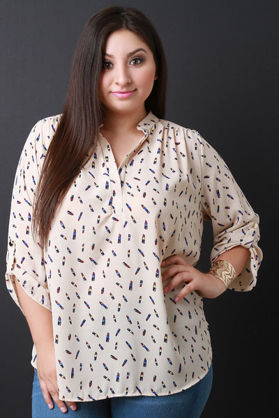 Beauty Queen Lipstick Print Blouse - Thick 'N' Curvy Shop - 1