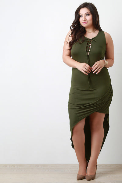 Asymmetrical Corset Lace Up Maxi Dress - Thick 'N' Curvy Shop - 1