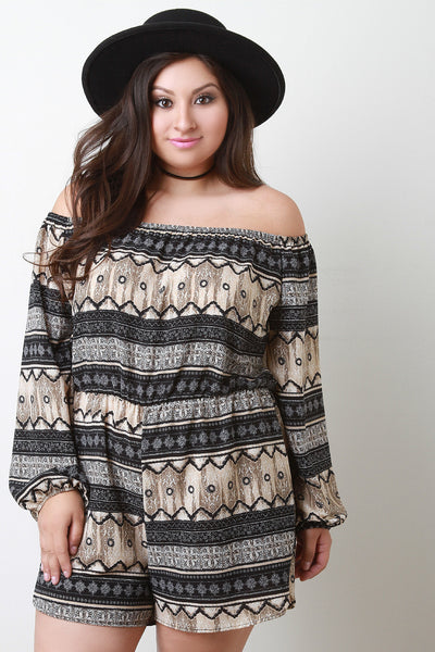 Bardot Bohemian Striped Romper - Thick 'N' Curvy Shop - 1