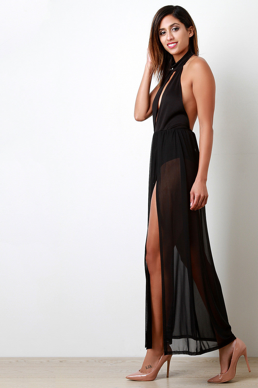 Bare Back Contrast Mesh Maxi Dress - Thick 'N' Curvy Shop - 4