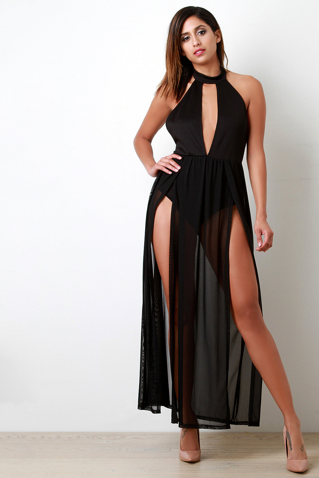 Bare Back Contrast Mesh Maxi Dress - Thick 'N' Curvy Shop - 5
