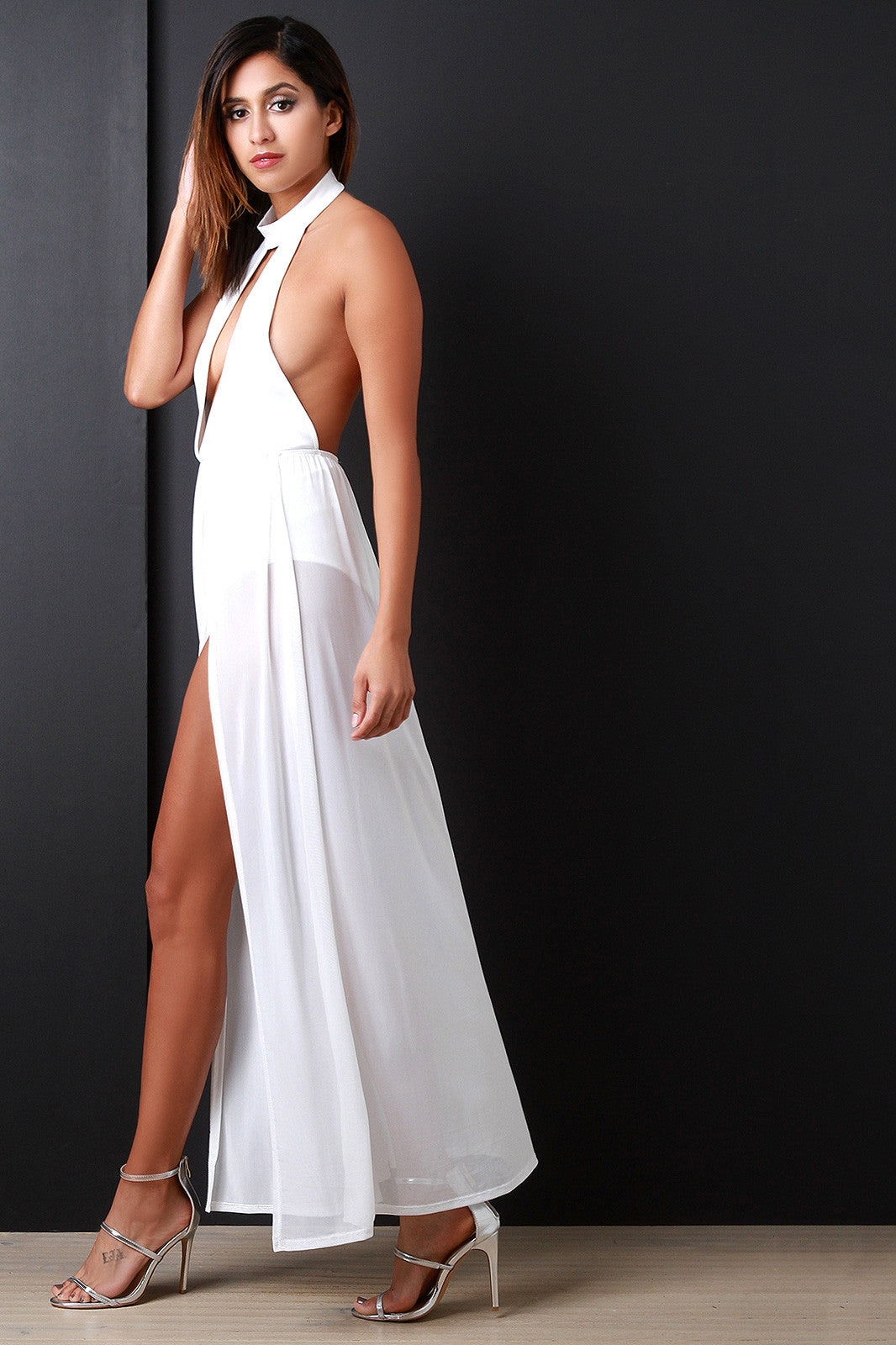 Bare Back Contrast Mesh Maxi Dress - Thick 'N' Curvy Shop - 1