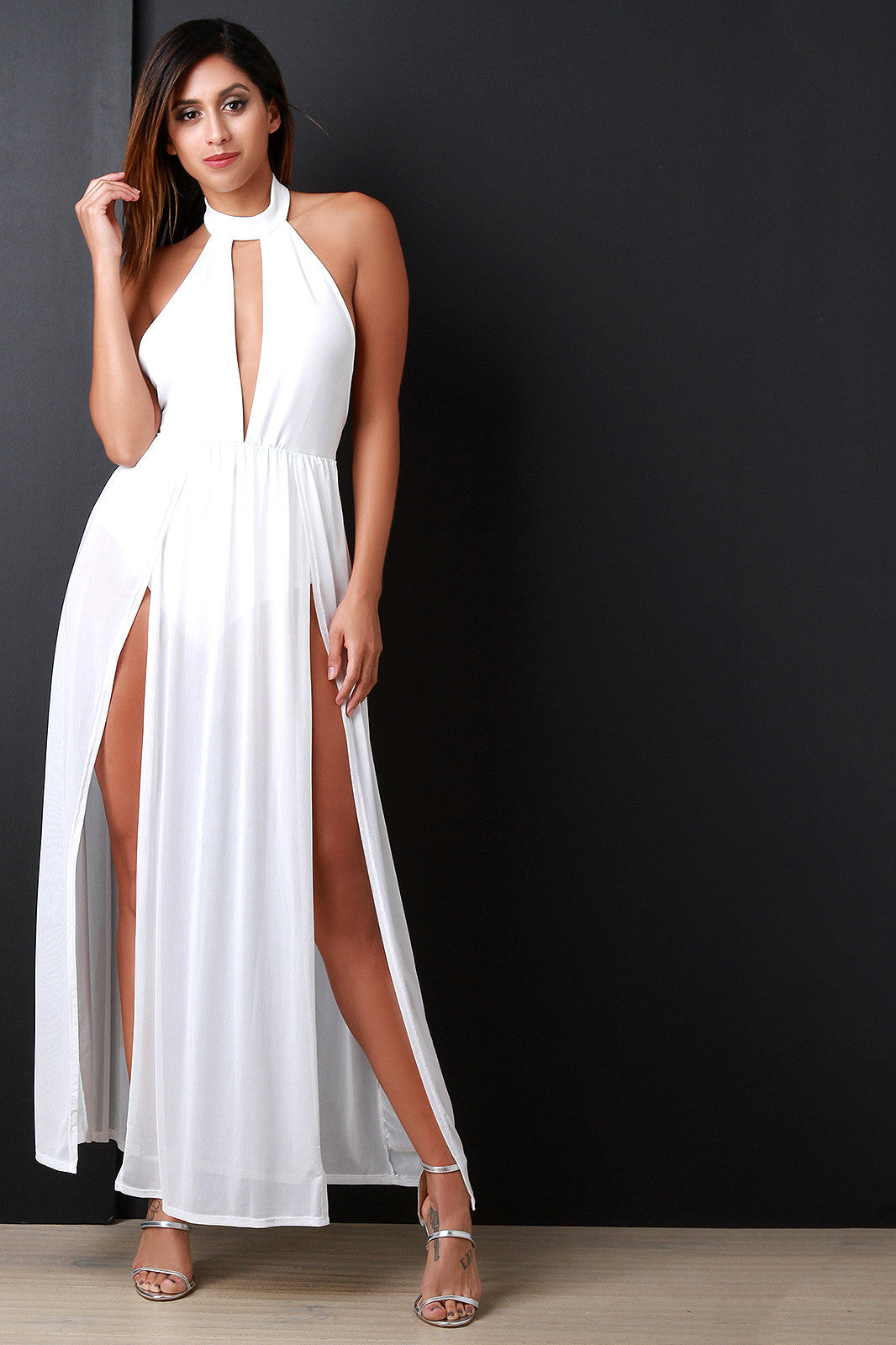 Bare Back Contrast Mesh Maxi Dress - Thick 'N' Curvy Shop - 2