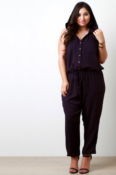 Button Down Pocketed and Hooded Jumpsuit - Thick 'N' Curvy Shop - 1