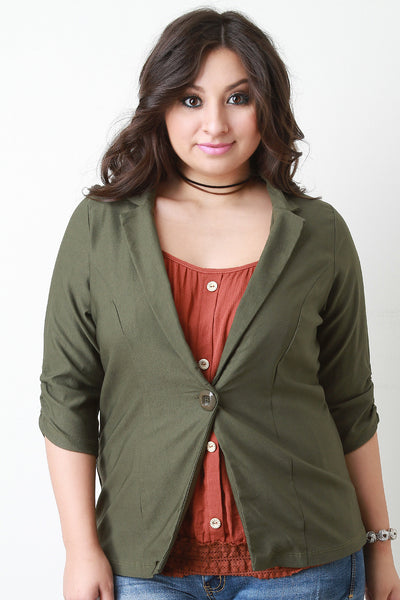 Classic One Button Blazer - Thick 'N' Curvy Shop - 1