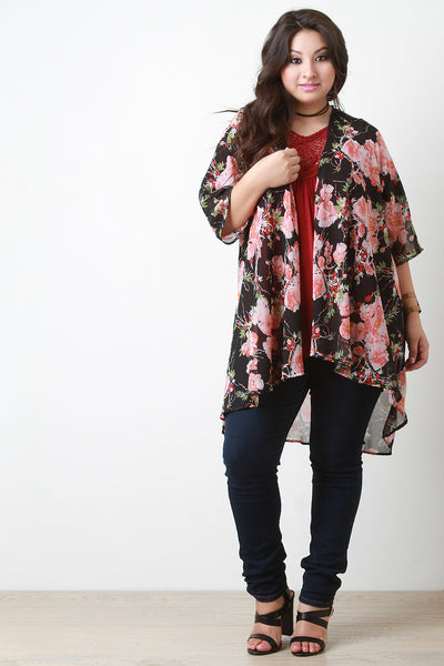 Floral Chiffon Draped Open Front Kimono Cardigan - Thick 'N' Curvy Shop - 1
