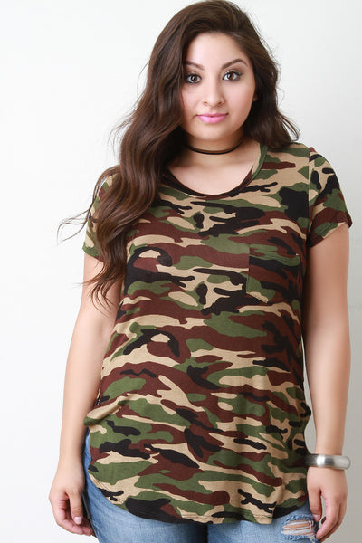 Camo Print High Low Rounded Hem Tee Shirt - Thick 'N' Curvy Shop - 1