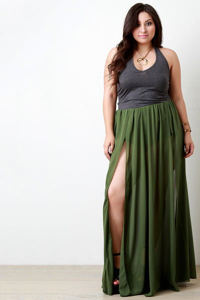 Double Slit High Waisted Chiffon Maxi Skirt - Thick 'N' Curvy Shop - 1