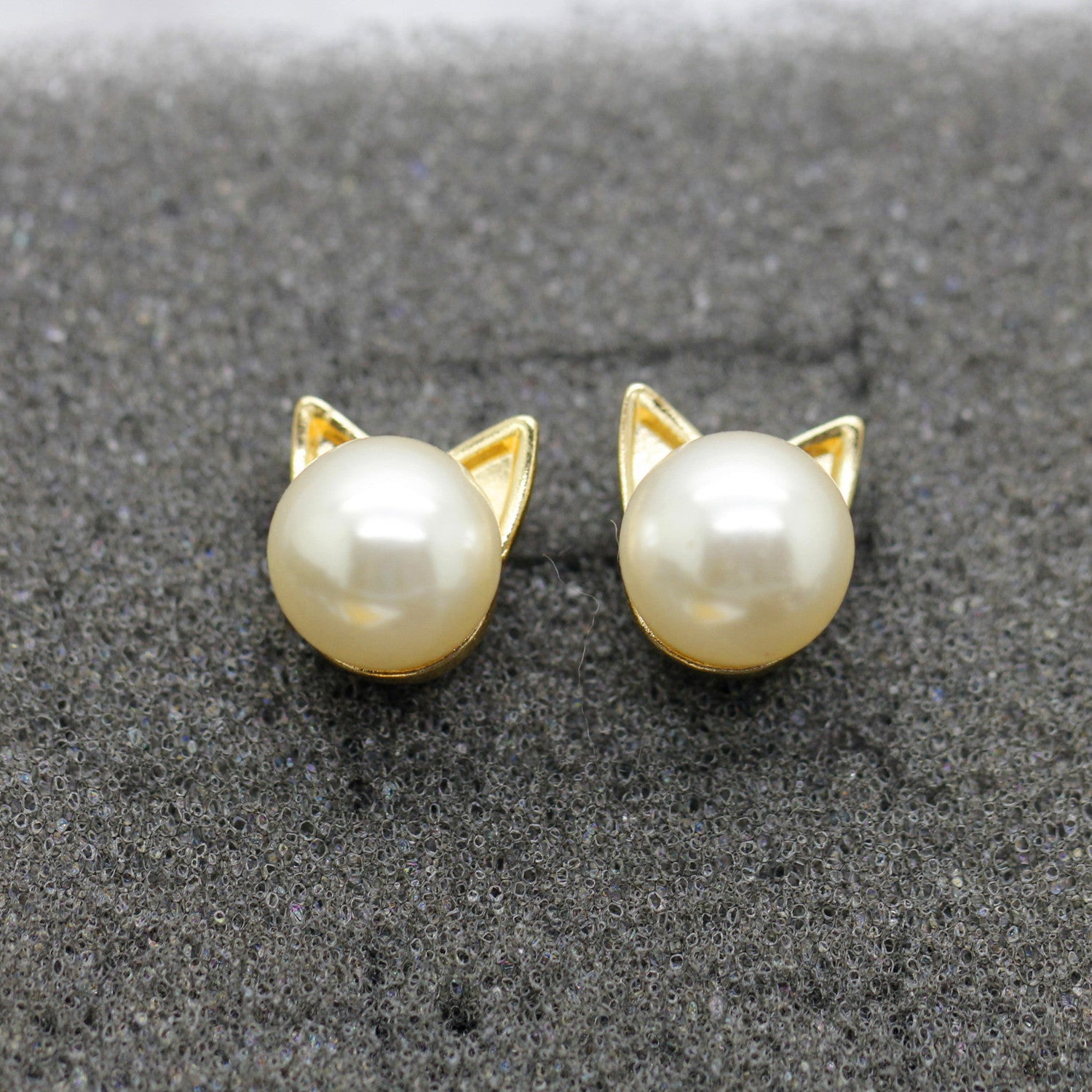 Gold and Pearl Mini Stud Cat Earrings - Thick 'N' Curvy Shop - 2