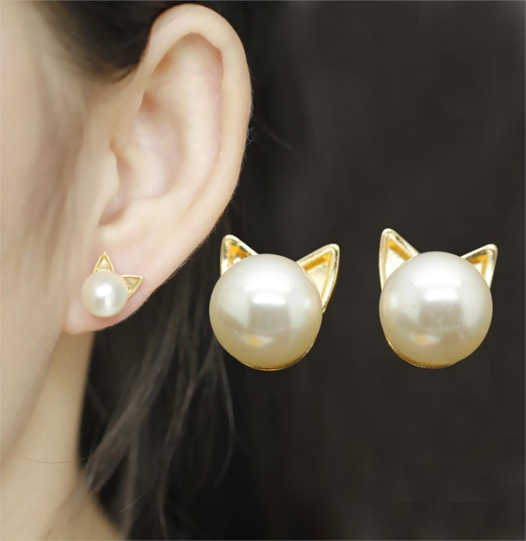Gold and Pearl Mini Stud Cat Earrings - Thick 'N' Curvy Shop - 1