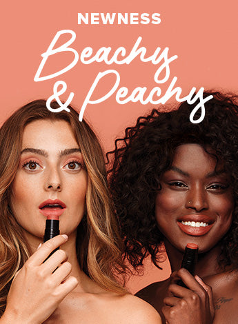 Two women holding makeup products from new Beachy & Peachy makeup kit