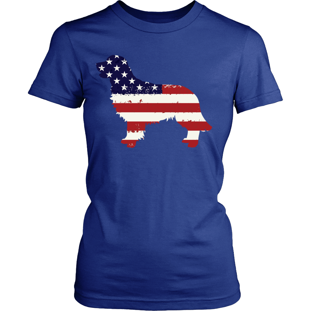 American Flag Golden Retriever Dog T-Shirt