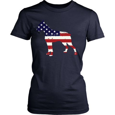 American Flag Boxer Dog T-Shirt