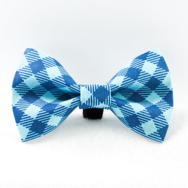 Buffalo Plaid Blue Bow Tie