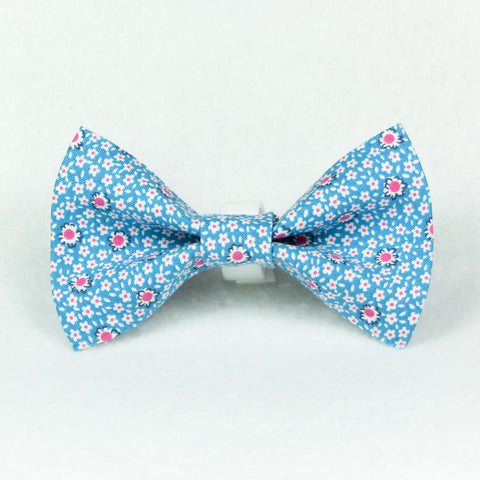 Spring Flowers Blue Bow Tie