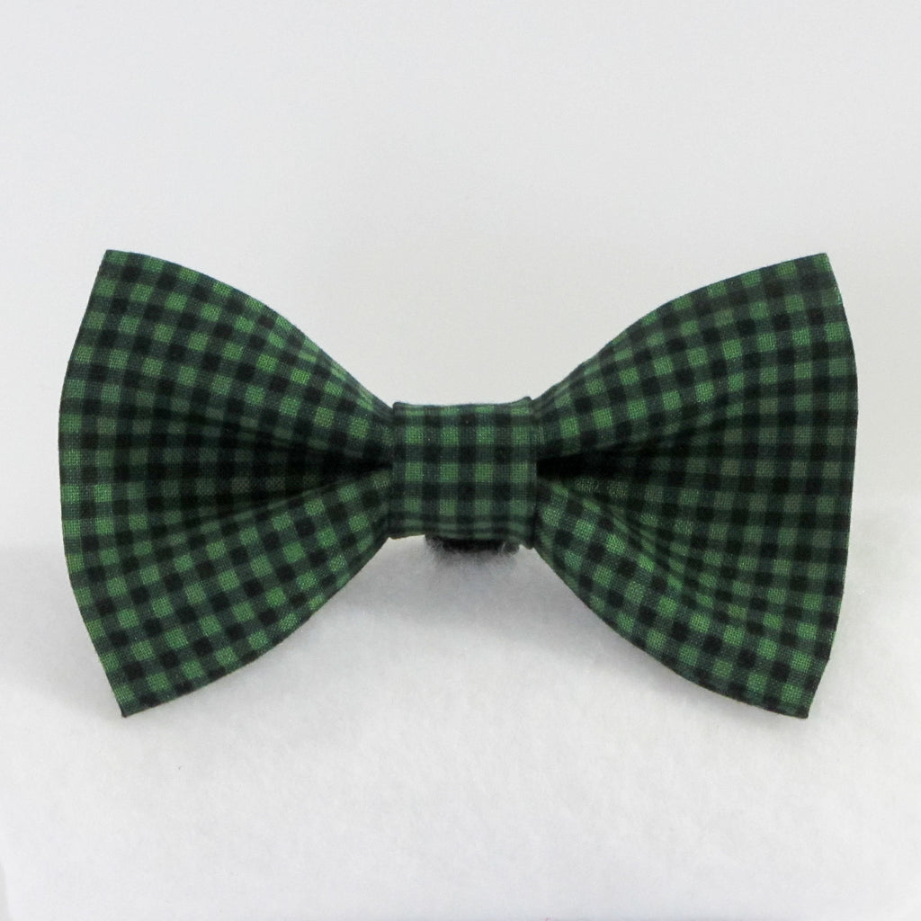 Small Plaid Green Bow Tie