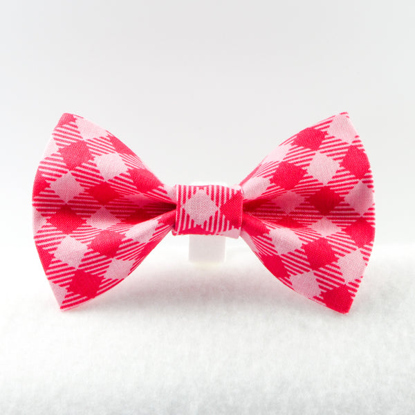 Buffalo Plaid Pink Bow Tie