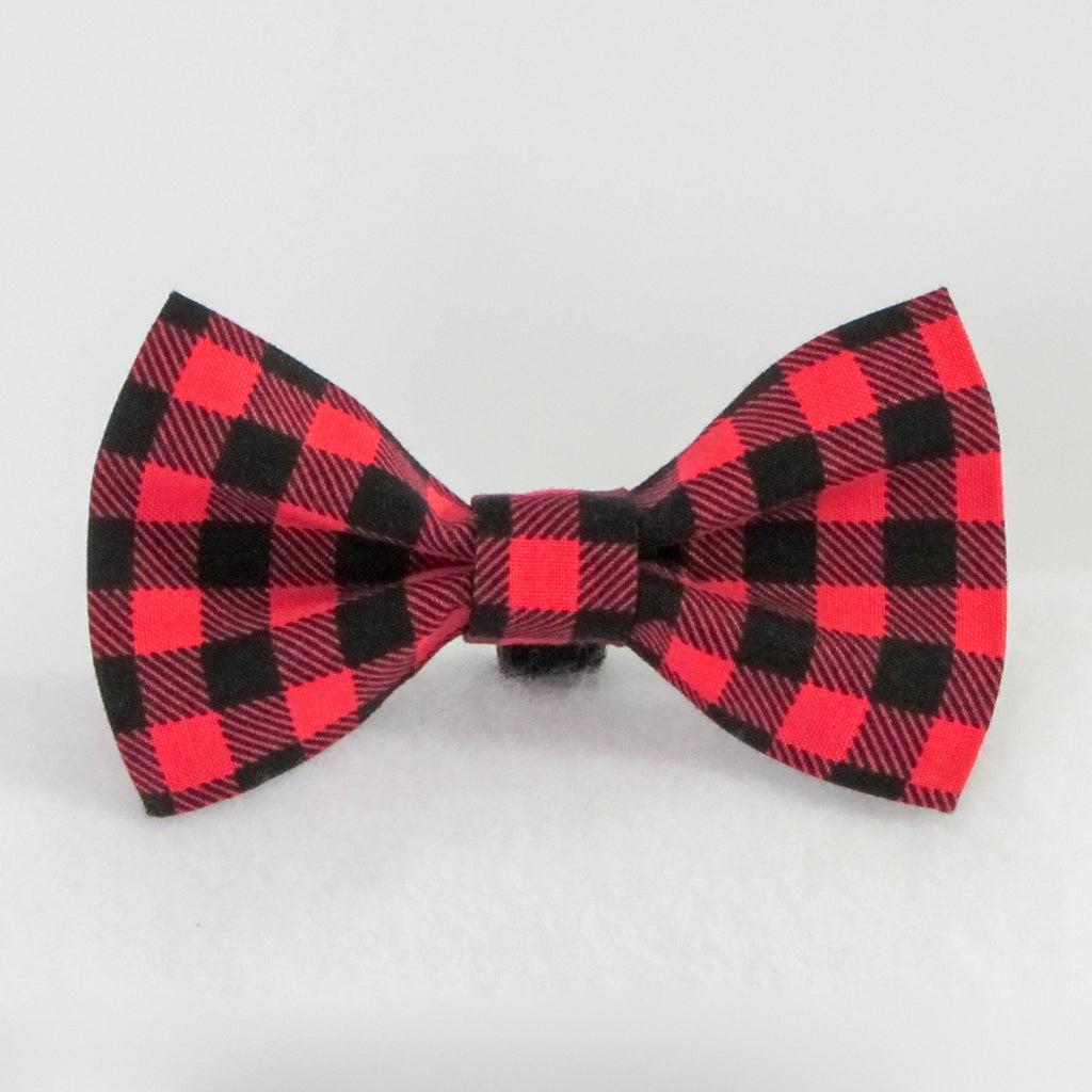 Buffalo Plaid Red Bow Tie