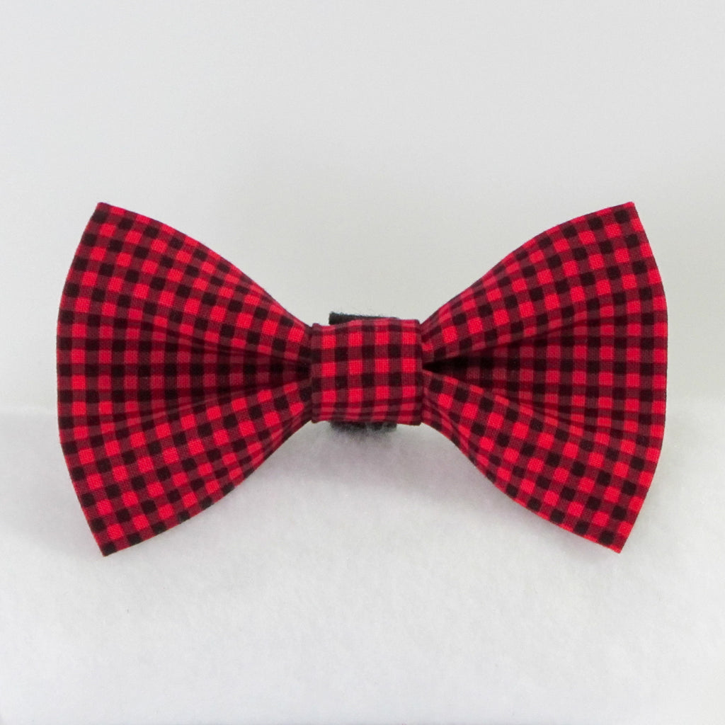 Small Plaid Red Bow Tie