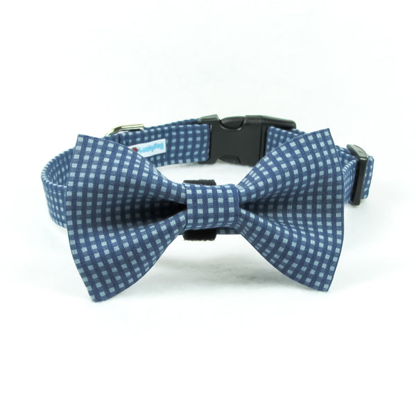 Small Plaid Blue Bow Tie