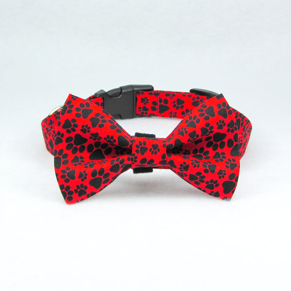 Paws Red & Black Bow Tie