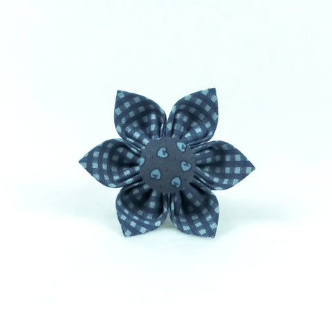 Small Plaid Blue Flower
