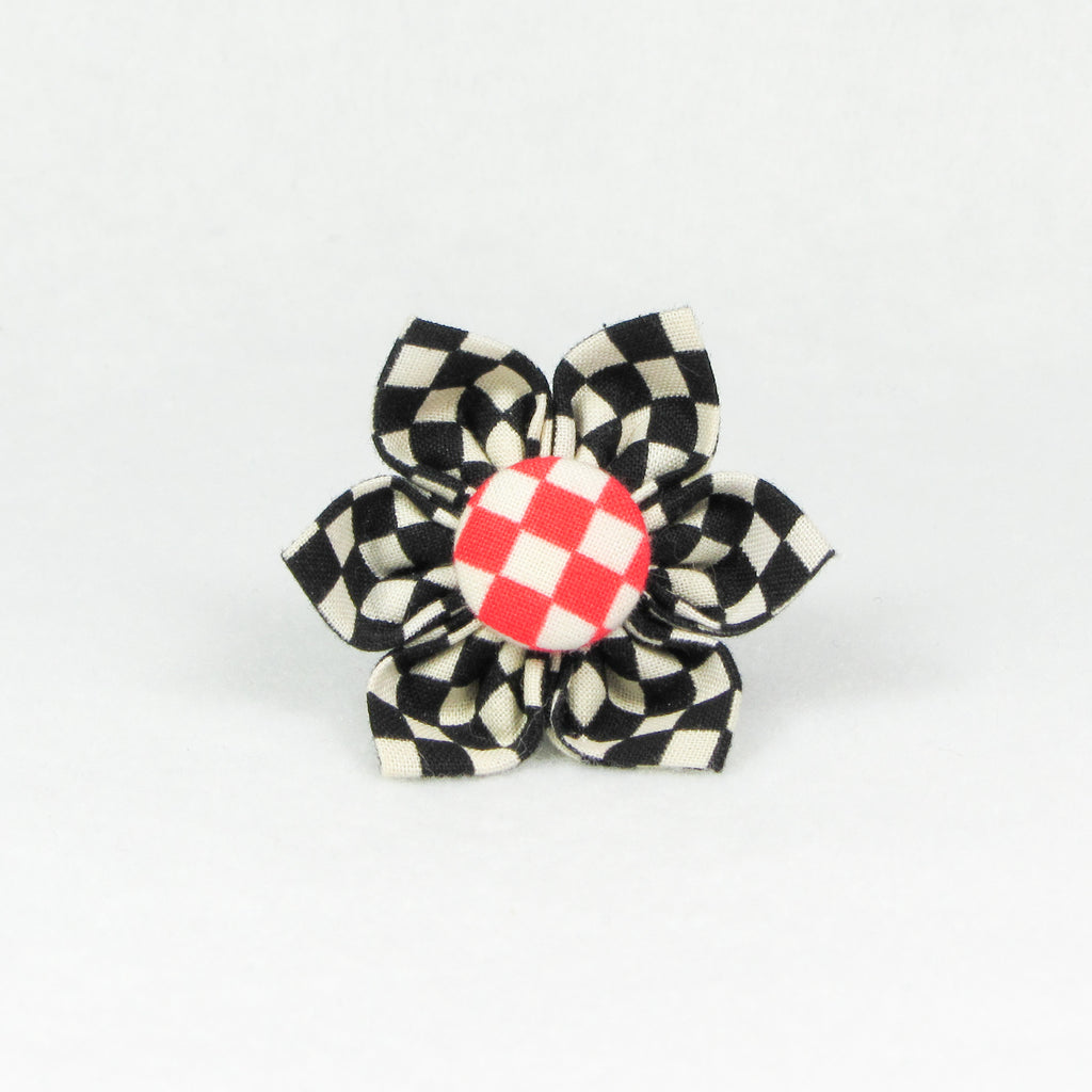 Checkers Black Flower