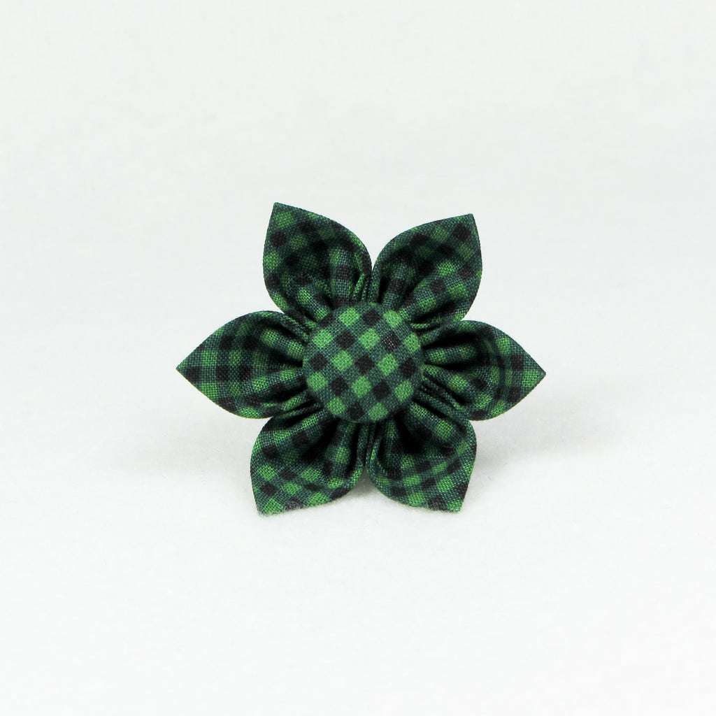 Small Plaid Green Flower