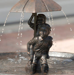 Umbrella Solar Fountain - Boy & Girl Piggyback
