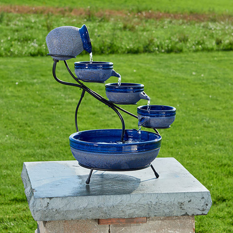 Ceramic Solar Cascade Fountain - Blueberry