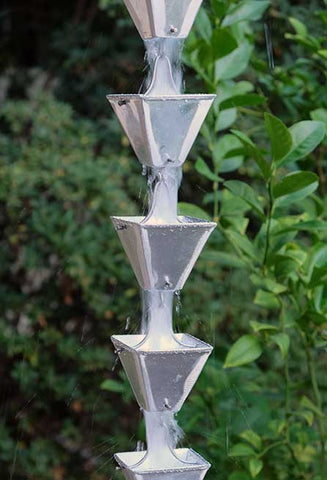 Rainchains - Medium Aluminum Square Cup Rain Chain - 3121-M-AL