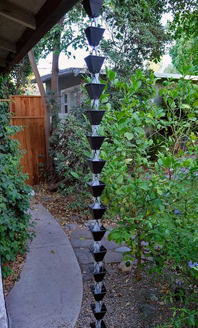 Rainchains - Medium Matte Black Square Cup Rain Chain - 3121-M-BLK