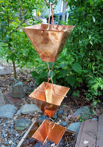 Rainchains - XL Pure Copper Square Cup Rain Chain - 3121-XL