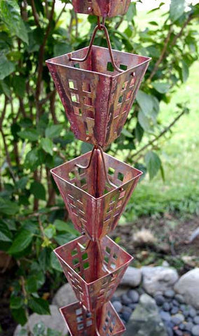 Rainchains - Arts & Crafts Square Aged Copper Cups Rain Chain - 3122-AC