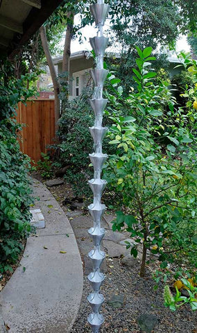 Rainchains - Star Flower Pure Unfinished Aluminum Rain Chain - 3146-AL
