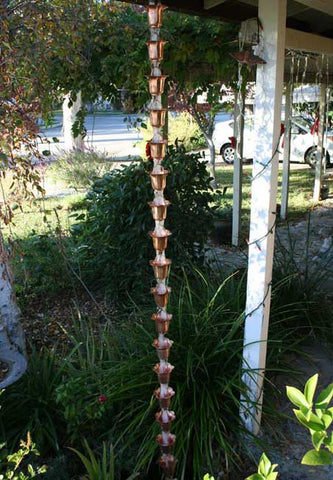 Rainchains - Classic Asian Inspired Copper Flower Cup Rain Chain - 3149