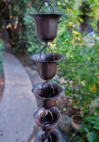Rainchains - Asian Inspired Bronze Flower Cup Rain Chain - 3149-BRZ