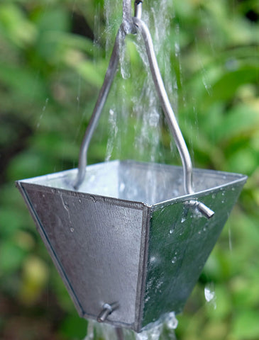 Rainchains - Galvanized Tapered Square Cup Rain Chain - 3178-M-GALV