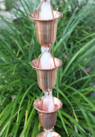 Rainchains - Flared Pure Copper Cups Rain Chain - 7227