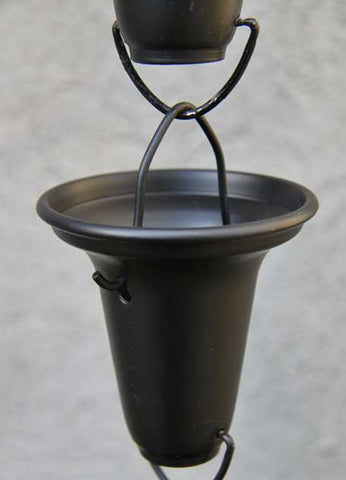 Rainchains - Black Flared Aluminum Cups Rain Chain - 7228-BLK