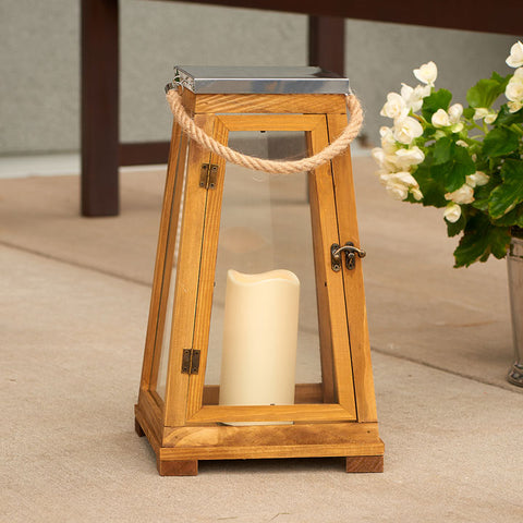 "Newport 15"" H LED Candle Lantern - Natural Wood"