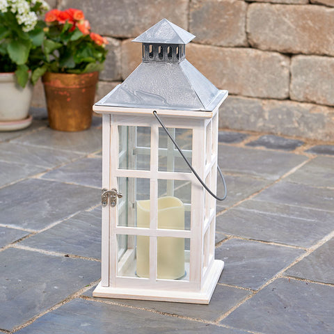 "Camden 16"" H LED Candle Lantern - White"