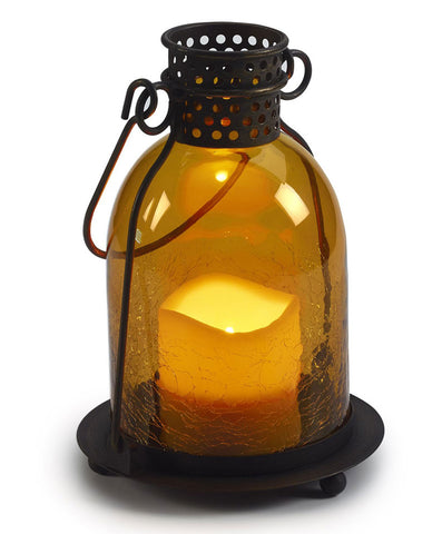 "Monaco 9"" H Glass LED Candle Lantern - Amber"