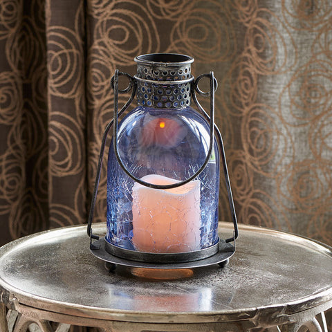 "Monaco 9"" H Glass LED Candle Lantern - Blue"
