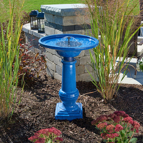 Athena Solar-On-Demand Birdbath - Blue