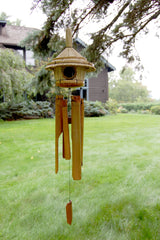 Woodstock Thatched Roof Birdhouse Bamboo Chime