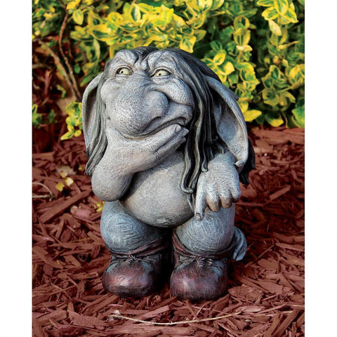 Pondering Sylvester, the Cynical Gnome Troll Statue