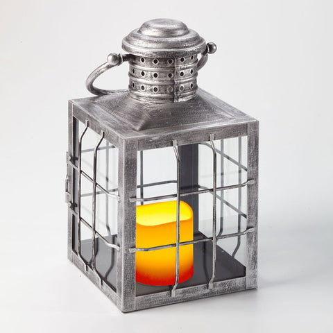 Charles LED Candle Lantern - Antique Silver